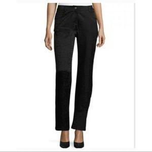 ST. JOHN black faux trousers pants size 2 straight